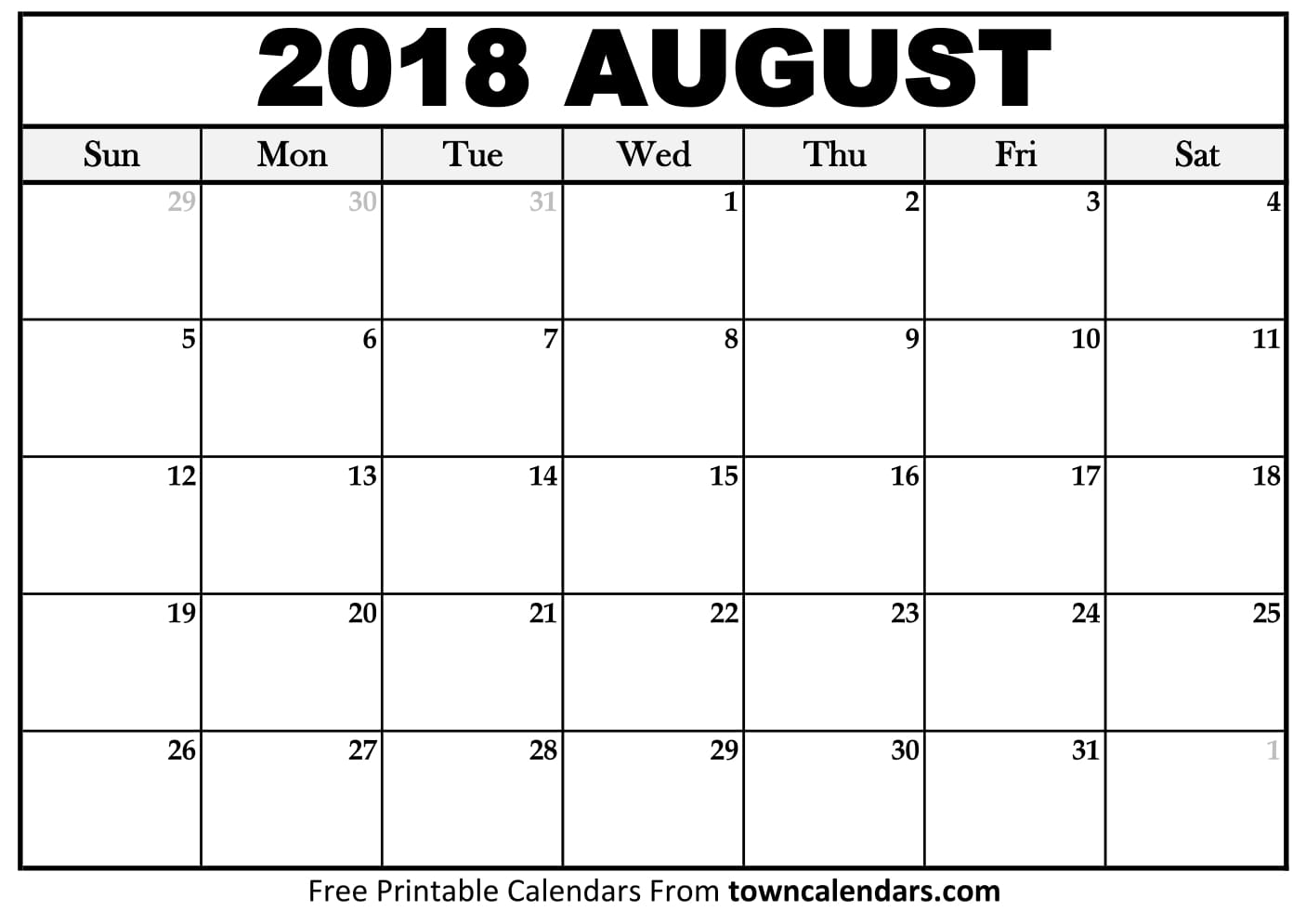 calender august 2018