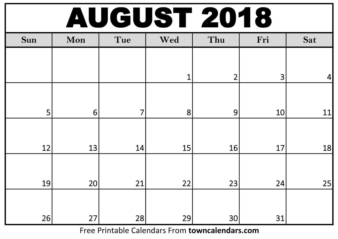 August 2018 Calendar Free Download Cheetah Template