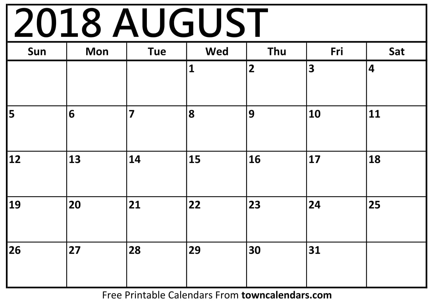 Printable august 2018 calendar for Free 2018 calendar template