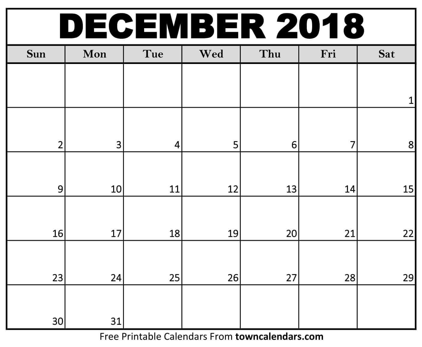 Printable December 2018 Calendar - towncalendars.com towncalendars.com Printable December 2018 Calendar
