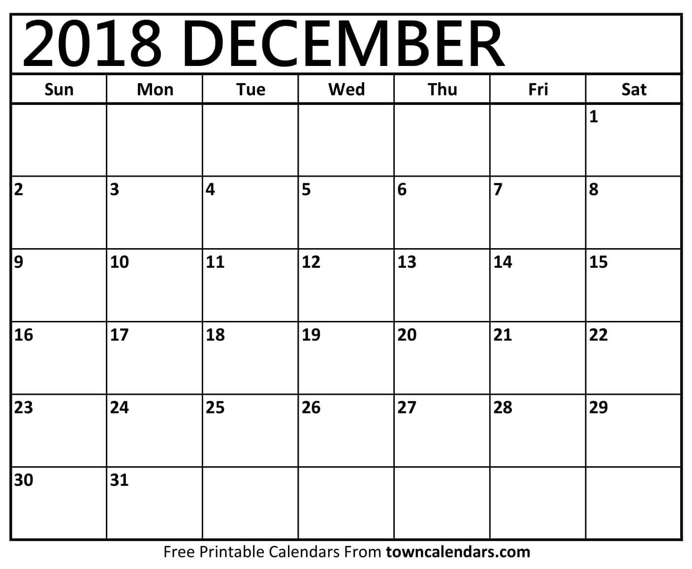graphic about Calendar December Printable identify Printable December 2018 Calendar -