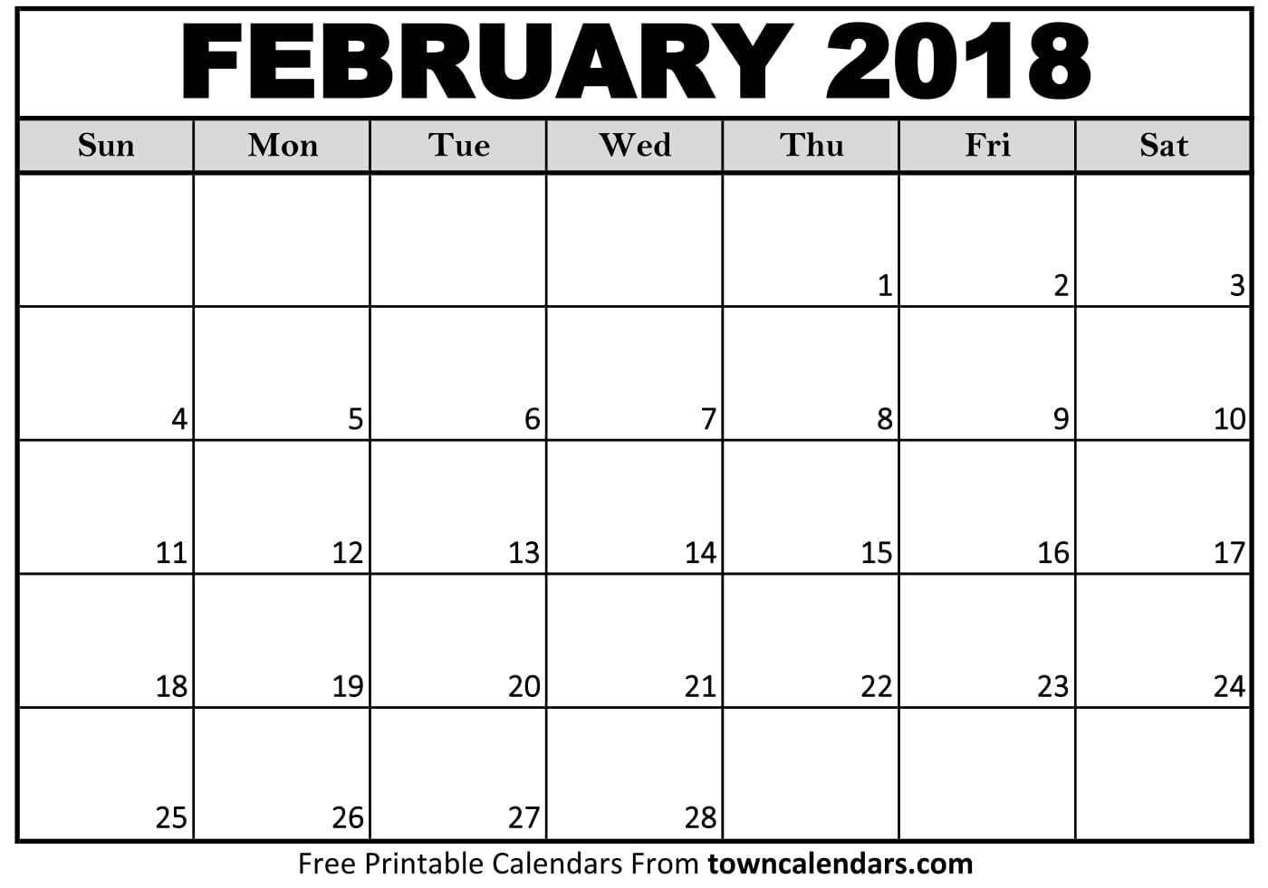 Blank Calendar February 2018 : February calendar printable template pdf with