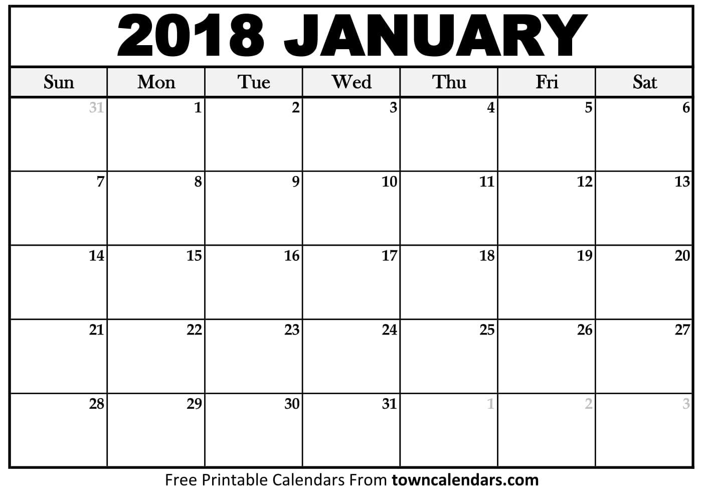2018 Calendar Printable - towncalendars