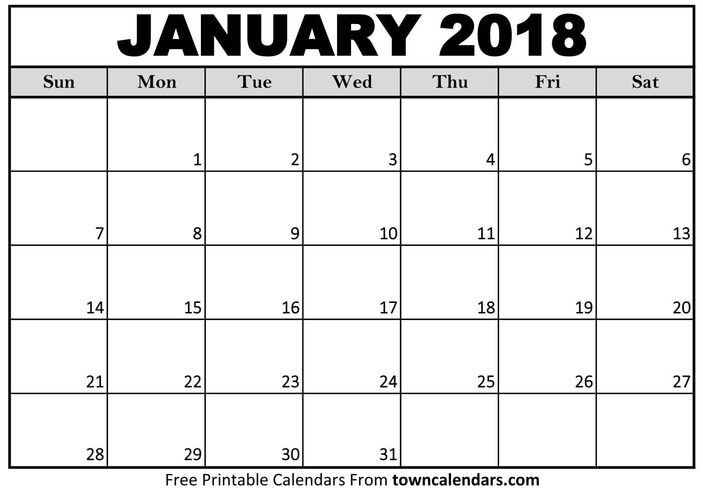 Printable January 2018 Calendar - towncalendars
