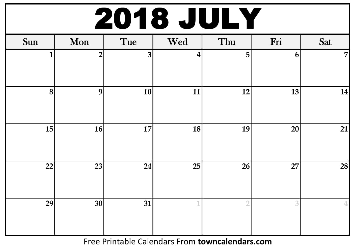 July 2018 Calendar July Calendar 2018 Printable Template