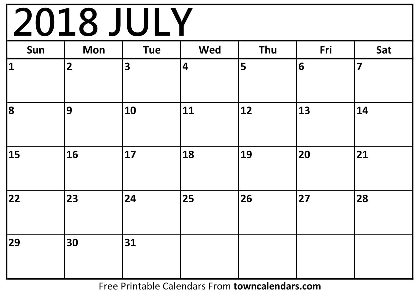 july 2018 Printable July 2018 Calendar   towncalendars.com july 2018