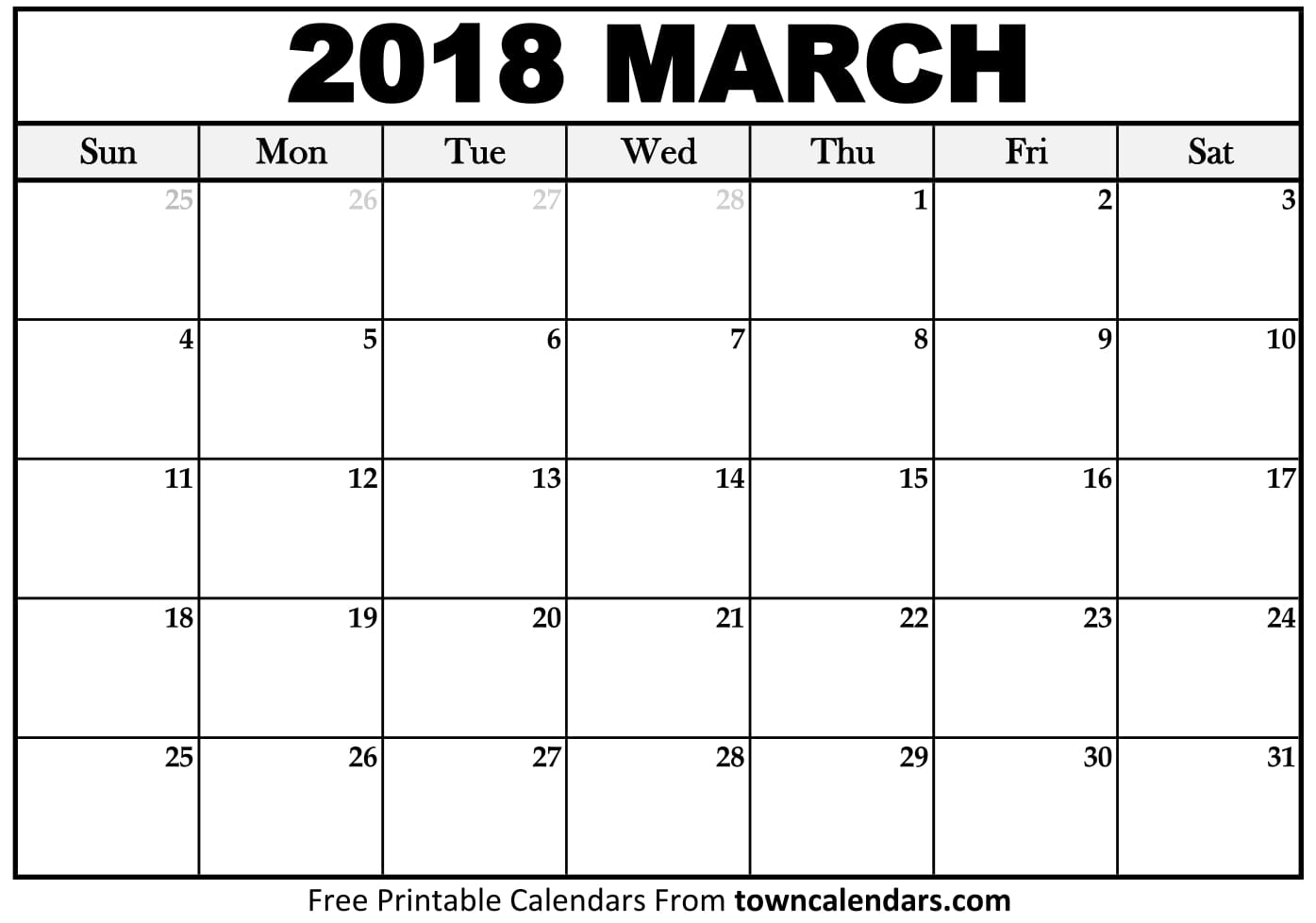 Calendar March 2018 : Printable march calendar towncalendars