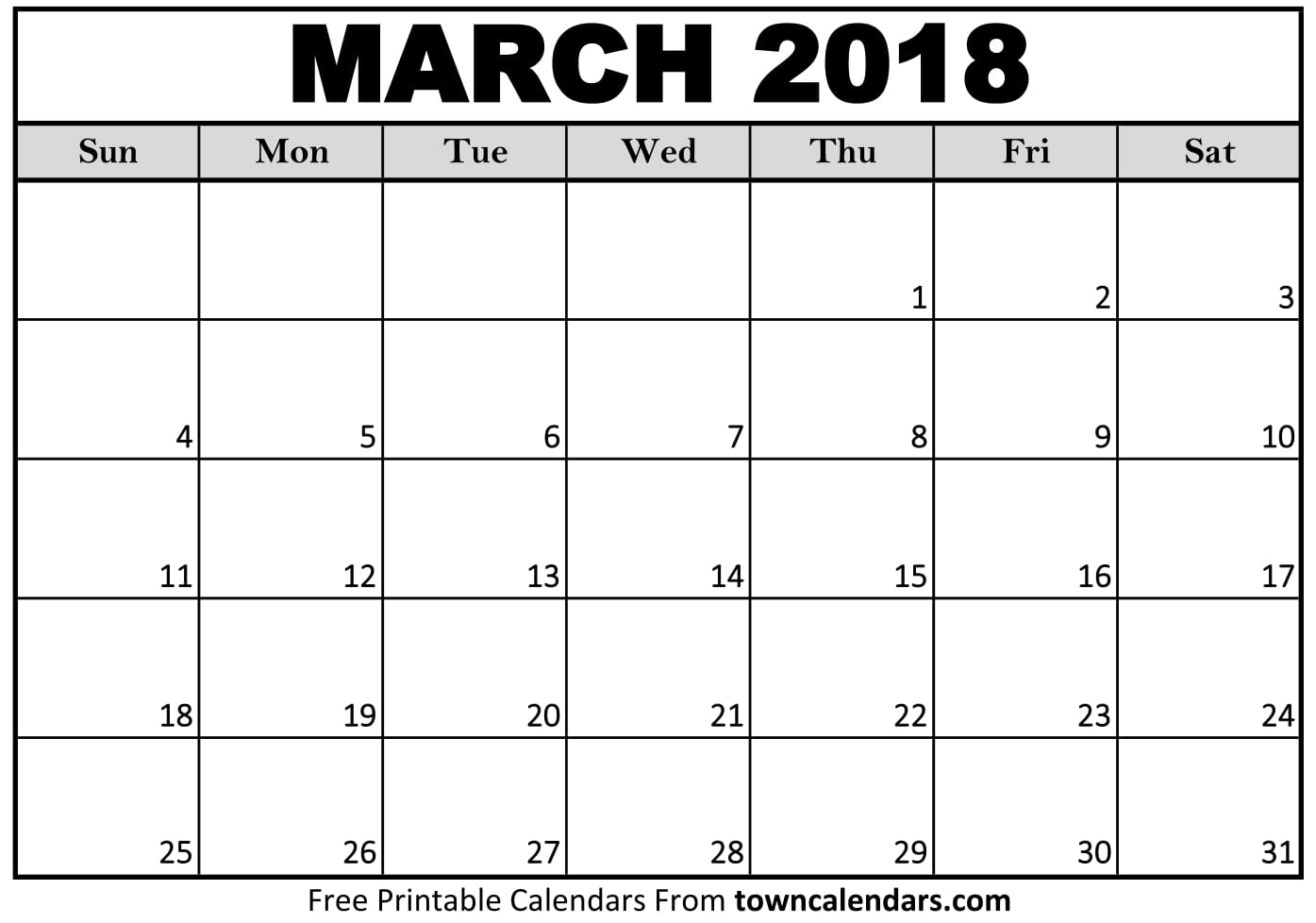 Blank Calendar Page March : Printable march calendar towncalendars
