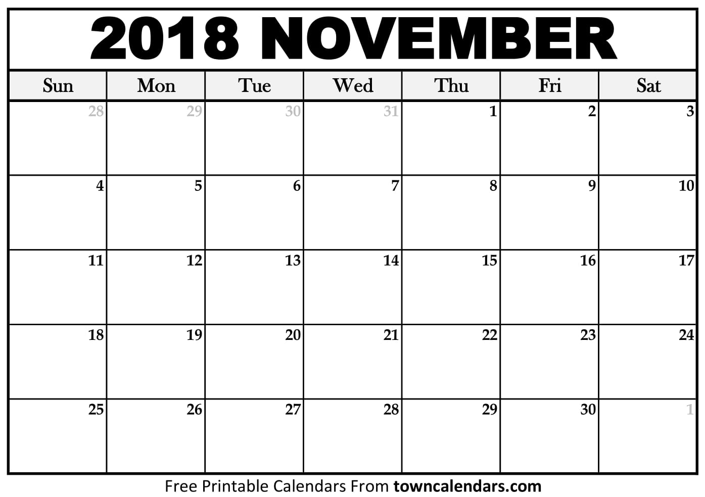 Printable November 2018 Calendar PDF Canada November Calendar Template Holidays Free USA UK