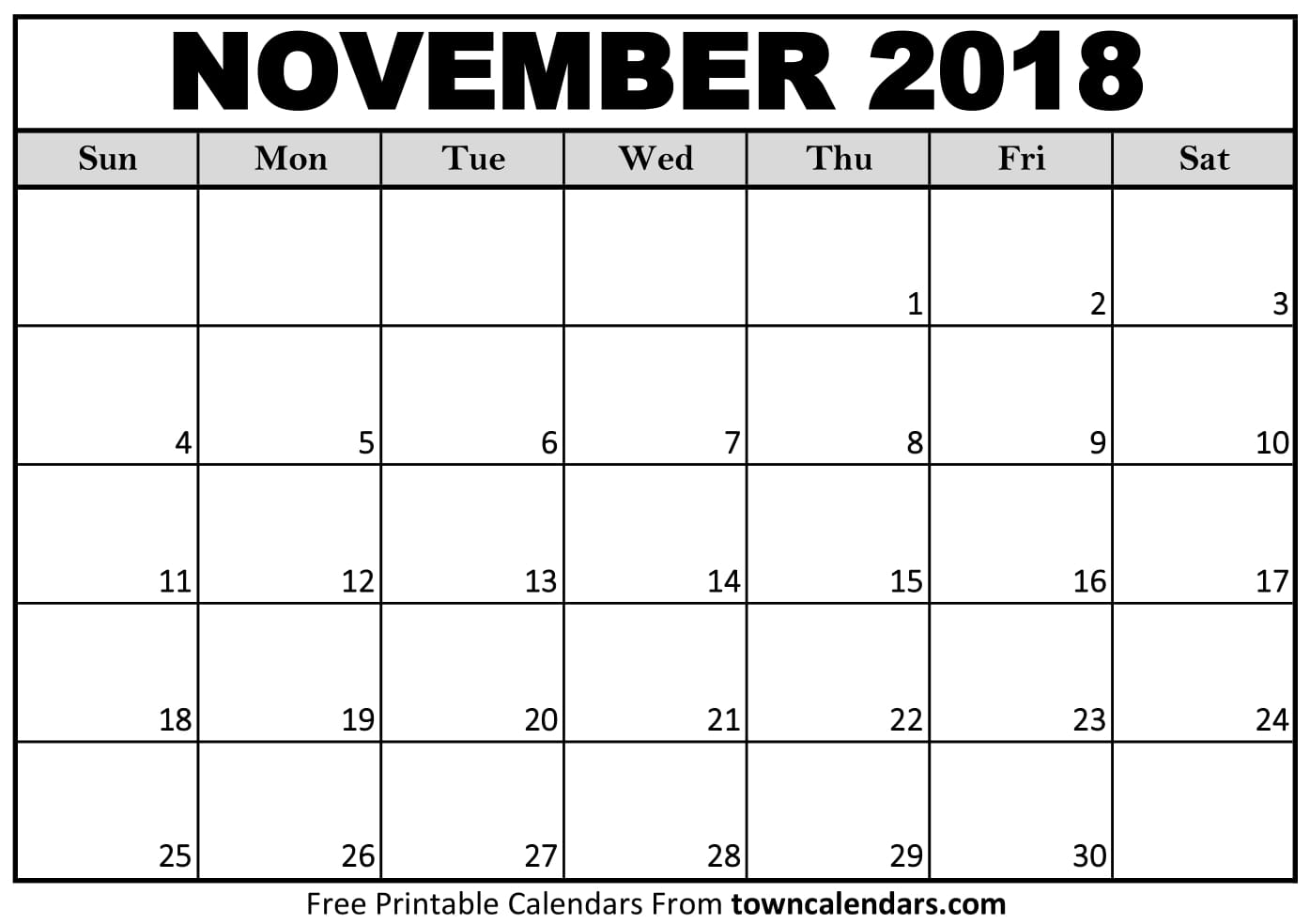 photograph relating to Free Printable Calendar November called Printable November 2018 Calendar -