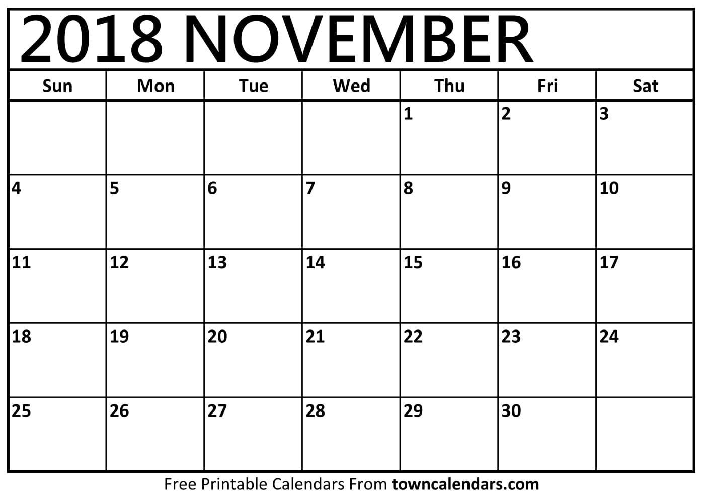 November 2018 Calendar November 2018 Calendar Printable