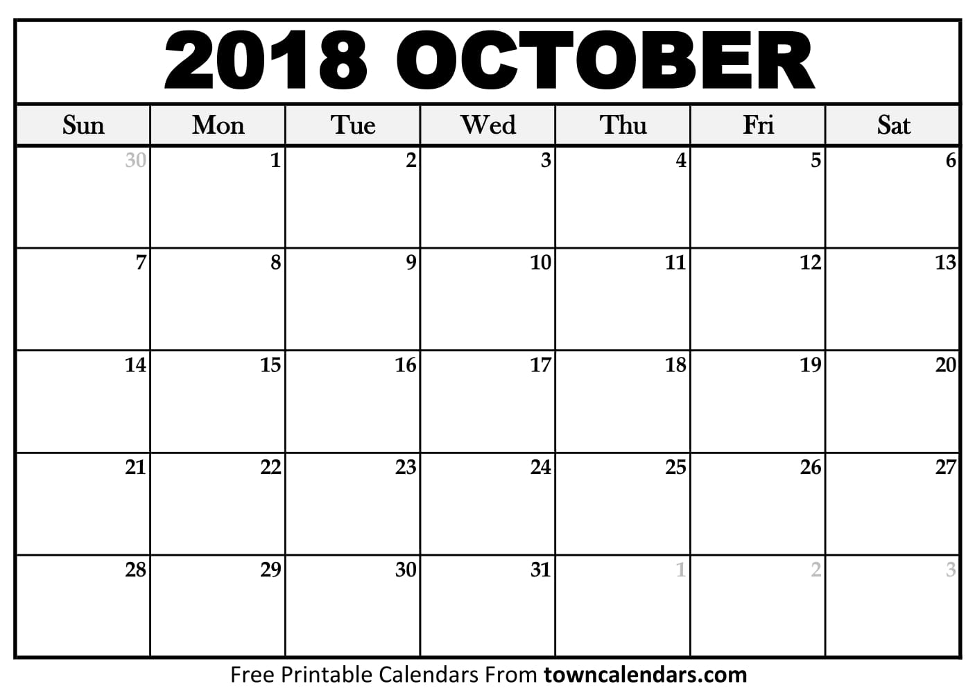 Printable October 2018 Calendar Towncalendars