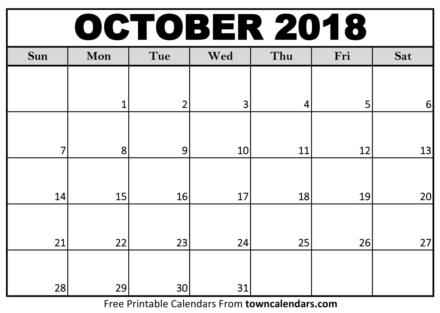 graphic about Printable Oct Calendar referred to as Oct 2018 Calendar - No cost Obtain