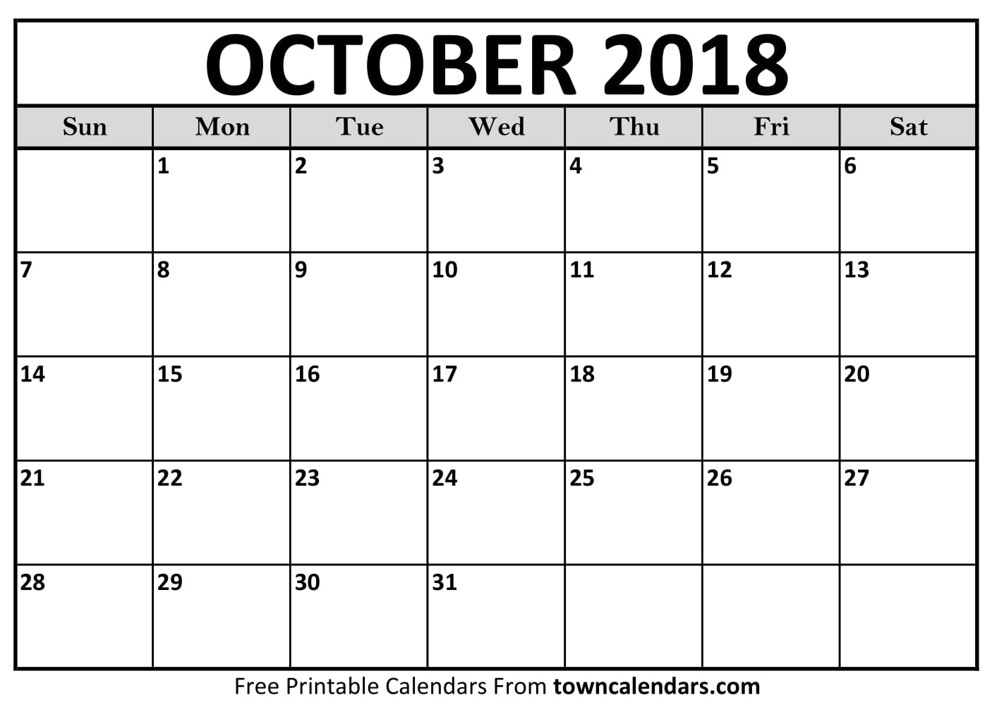 printable october 2018 calendar template