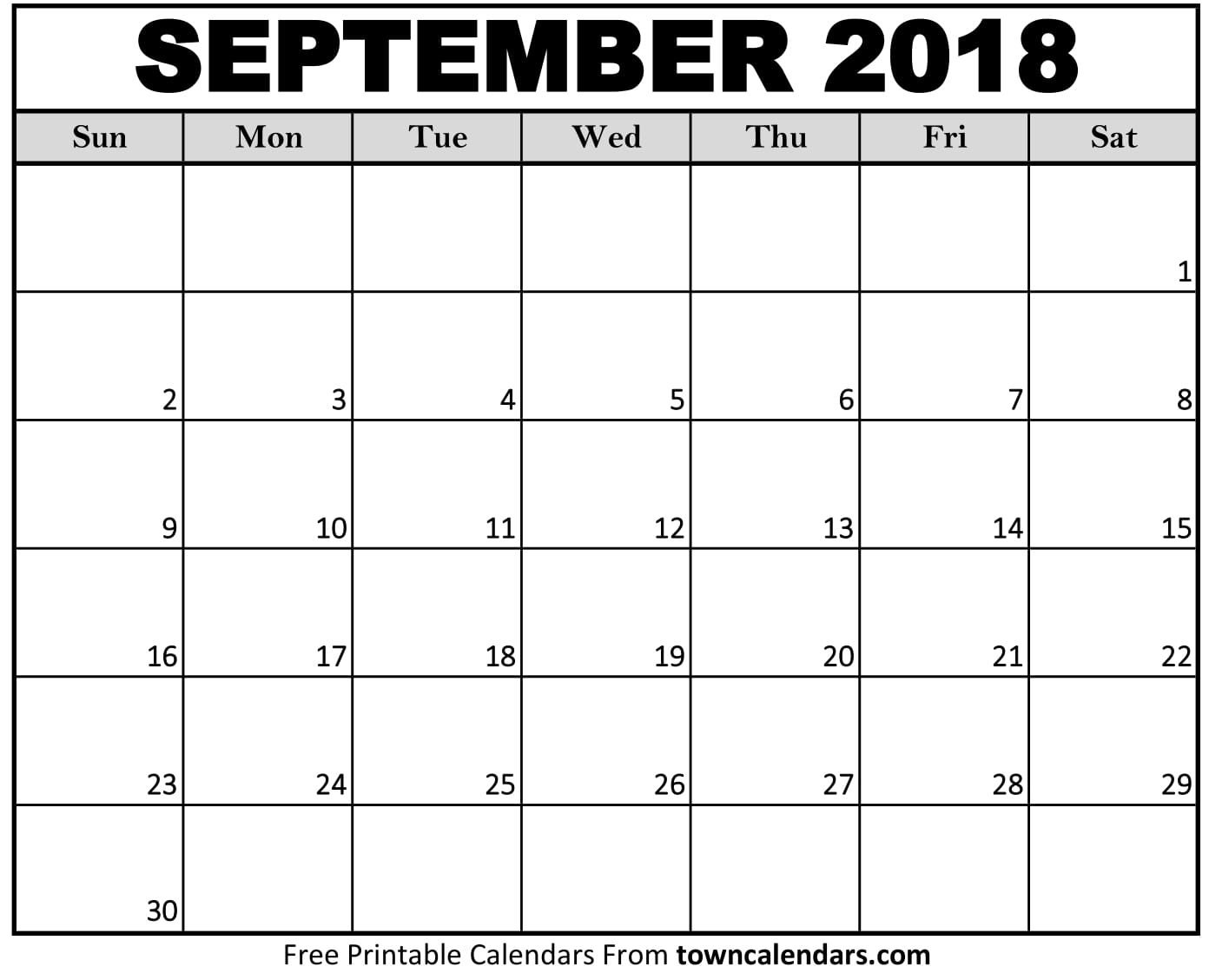 Printable September 2018 Calendar - towncalendars.com